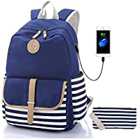 Sqoto Teen Girls Backpack Travel Laptop Backpack with USB Charging Port, Classic Schoolbag Camping Daypack Shoulder Bag Fashion Causal Rucksack College Bookbag