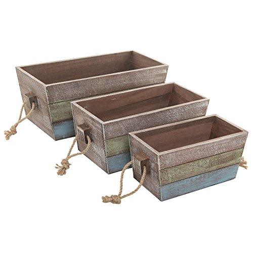 MyGift Nesting Wood Storage Crates, Stripe Design Wood Boxes with Rope Handles, Set of 3, Brown ()
