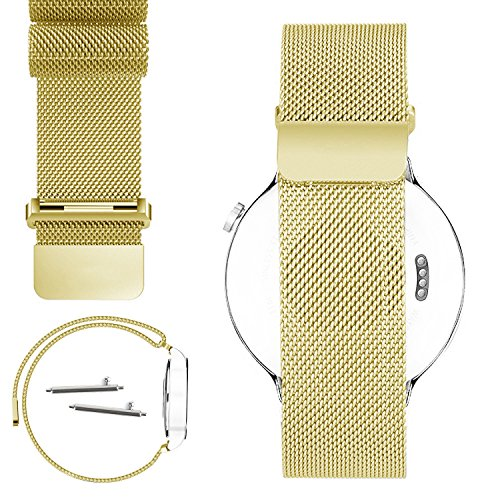 No1seller 18mm Magnetic Lock Milanese Loop Stainless Steel Strap Watchband for Huawei Watch - Gold