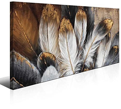 Bird Feather Wall Art Canvas Painting for Bedroom Framed White Golden Abstract Decoration Home Office Living Room Decor Contemporary Artwork ()
