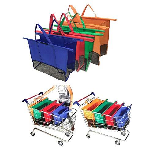 Juego de 4 bolsitas plegables para carro de la compra Supermarket, Multicolor