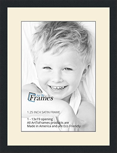 13x19 / 13 x 19 Picture Frame Satin Black .. 1.25'' wide with a 2'' double mat