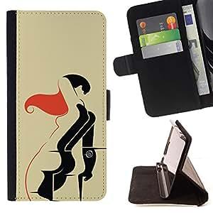 - BODY SEXY NUDE RED DRAWING WOMAN ART - - Prima caja de la PU billetera de cuero con ranuras para tarjetas, efectivo desmontable correa para l Funny HouseFOR Apple Iphone 5C
