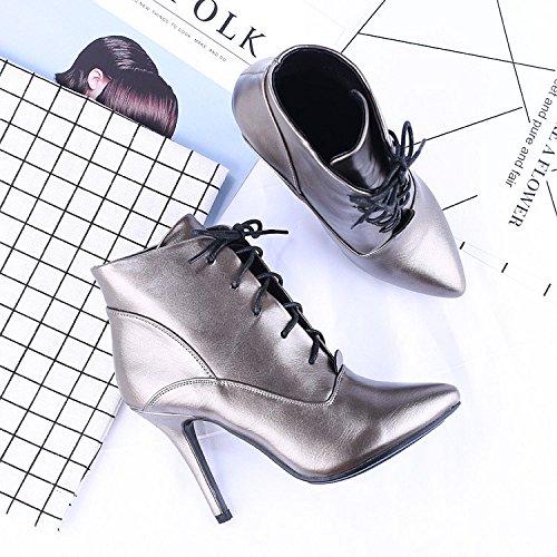 KHSKX-High Heels Mit Feinen Kurzen Schuhe Stiefel Und Nackt - Mode Sexy Spitzen Alle Treffer Martin Stiefel Gun color