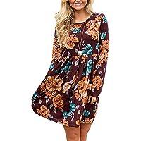 BELLEZIVA Women's Midi Length Dresses Floral Printed Crewneck Pleated Hem Skirt Long Sleeve Tunic Dress Outfits