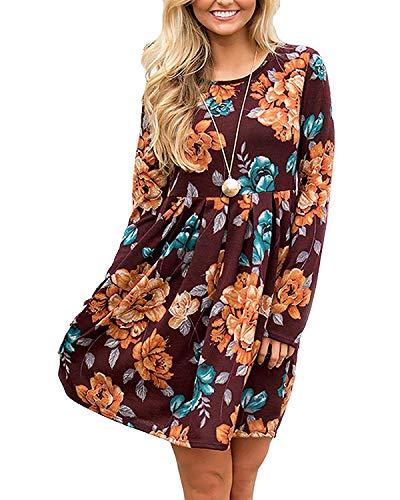 BELLEZIVA Womens Dresses Bohemian Tunic Tops Pleated Hem Shrit Fall T-Shirt Midi Floral Dress for Fall Spring Brown
