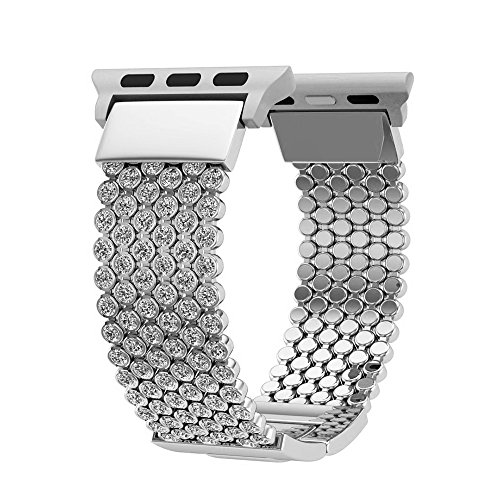 Apple Watch Bands 42mm, Soft CZ Crystal Chain Strap Replacement Band With Adjustable Metal Clasp for iWatch Series 1, 2, 3, Silver (Silver)