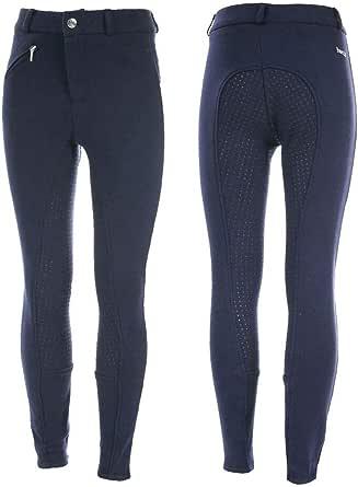 HORZE Pantalones de Montar para niños Active con Asiento Completo de Silicona, Bolsillos con Cremallera y bajo elástico, Todas Las Tallas