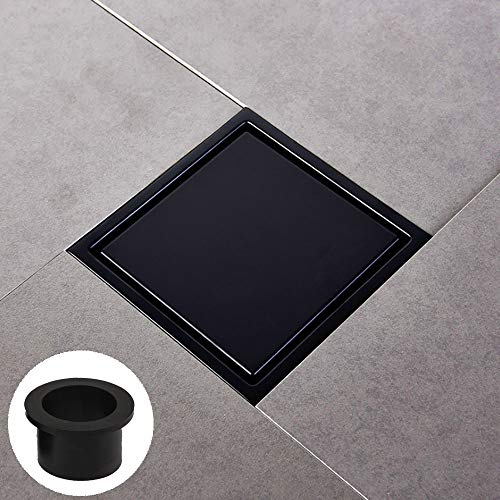 "[Rubber Gasket Included]⭐️Square Shower Floor Drain with Tile Insert Grate - 6""x6"" Shower Drain with Multipurpose Cover,Make of Stainless Steel,Black Plated Finish,Hair Strainer,Black Matte"