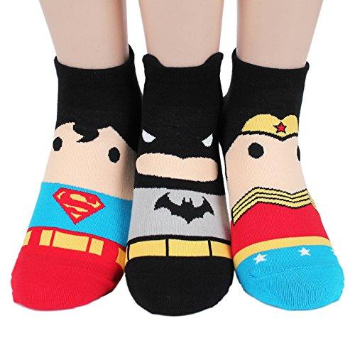 Socksense Heros Women's Cotton Socks (Max_3pairs) (Batman Sock Women)