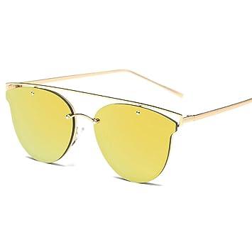 LHWY Femmes Cat Eye ton classique miroir lunettes de soleil Metal Frame lunettes de soleil (Or, café)