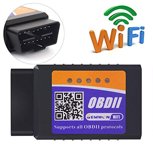 ELM327 Wifi OBDII Scanner,Gemwon OBD2 Wifi Adapter Car Diagnostic Tool Code Reader Check Engine for Android and IOS(Wifi-Black) (Wifi-Black for Andriod and IOS)