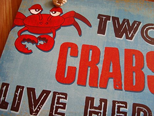 Crab Beach Tiki Bar - Two Old Crabs Live Here Seafood Restaurant Beach Tiki Bar Sign Home Decor