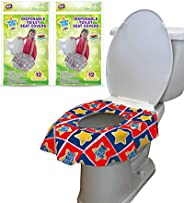 24 Large Disposable Toilet Seat Covers - Portable Potty Seat Covers for Toddlers, Kids, and Adults by Mighty C