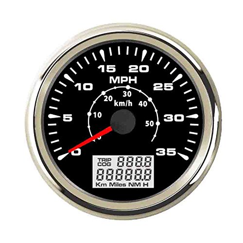 ELING 0-35MPH 0-55KM/H GPS Speedometer Speedo Velometer Odometer Mileage with Backlight 85mm ()