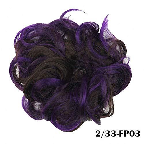 PrettyWit Wavy Curly Messy Hair Bun Updo Extensions Hair Chignons Hair Piece Wig Scrunchy Scrunchie Hairpiece Ribbon Ponytail Bridal Drawstring-Dark Purple and Dark Brown 233FP03