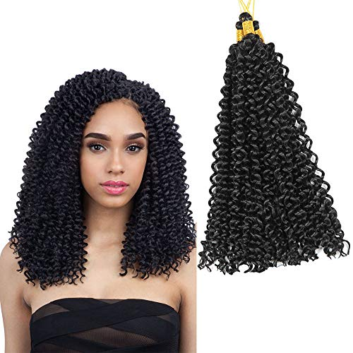 6 Packs 14 Inch Eunice Water Deep Crochet Braids Hair Extension Ombre Gray Synthetic Spring Twist Kinky Curly Braiding 30 Strands/Pack (1b)
