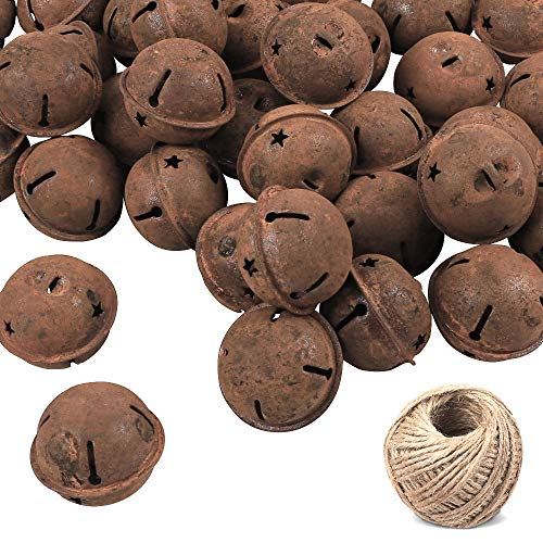72Pcs Rusty Jingle Bells Craft Bells Metal Star Cutout with 98.5ft Jute Twine for DIY Craft, Holiday Decoration, Christmas Decoration(1.6 Inch) (Rustic Christmas Bells)