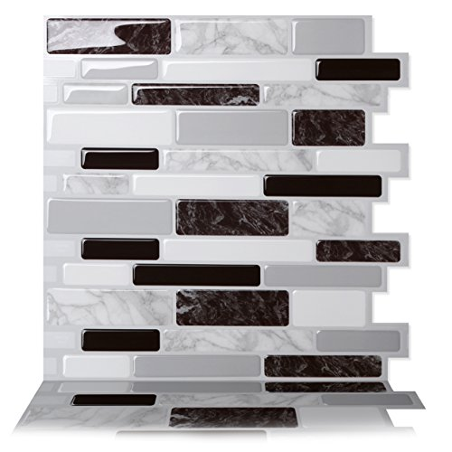 Tic Tac Tiles Peel and Stick Self Adhesive Removable Stick On Kitchen Backsplash Bathroom 3D Wall Tiles in Polito Designs (Black & White, 1)