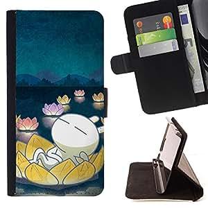 For Samsung Galaxy S5 V SM-G900 - Cute Floating /Funda de piel cubierta de la carpeta Foilo con cierre magn???¡¯????tico/ - Super Marley Shop -