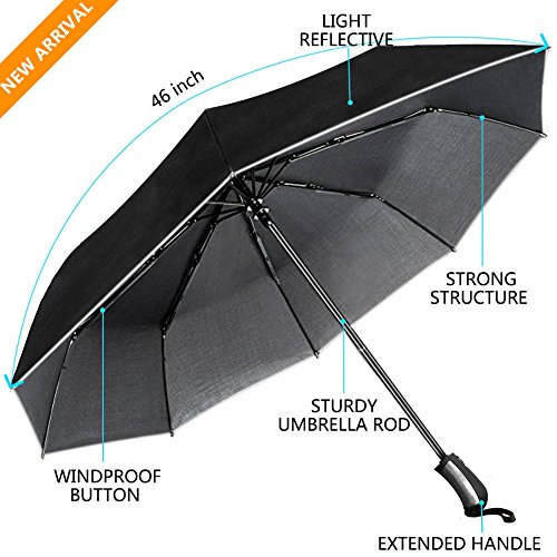 Umbrella-UROPHYLLA-Unbreakable-Travel-Umbrella-Windproof-umbrella60-MPH-Compact-Automatic-Open-and-Close-Umbrella-Lightweight-8-Ribs-Golf-Umbrellas-One-Handed-Operation-with-Light-Reflective-Black