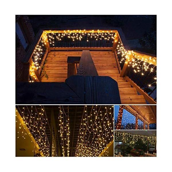 Cascata luci! Tende 480 LED con telecomando, tenda led con 8 modalità, luci matrimonio per feste, casa, cortile, finestra, patio, facciata, Natale, San Valentino, matrimonio ecc. (Bianco caldo) 6 spesavip