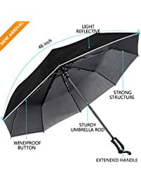 Umbrella, Unbreakable Travel Umbrella Windproof umbrella(60 MPH) Compact Automatic Open and Close Umbrella Lightweight 8 Ribs Golf Umbrellas One Handed Operation with Light Reflective-Black