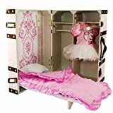 The Queen's Treasures Doll Trunk and Bed for 18-Inch Dolls and American Girl, Pretty in Pink