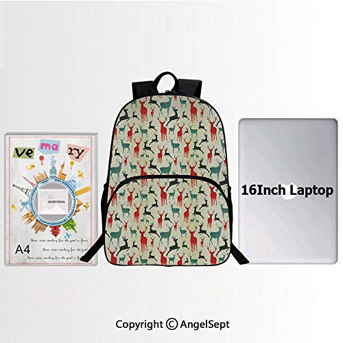 School Backpack Casual Daypack Travel Outdoor,Winter Season Animal Silhouettes in Various Stances Jumping Standing Running Wooden 15.7
