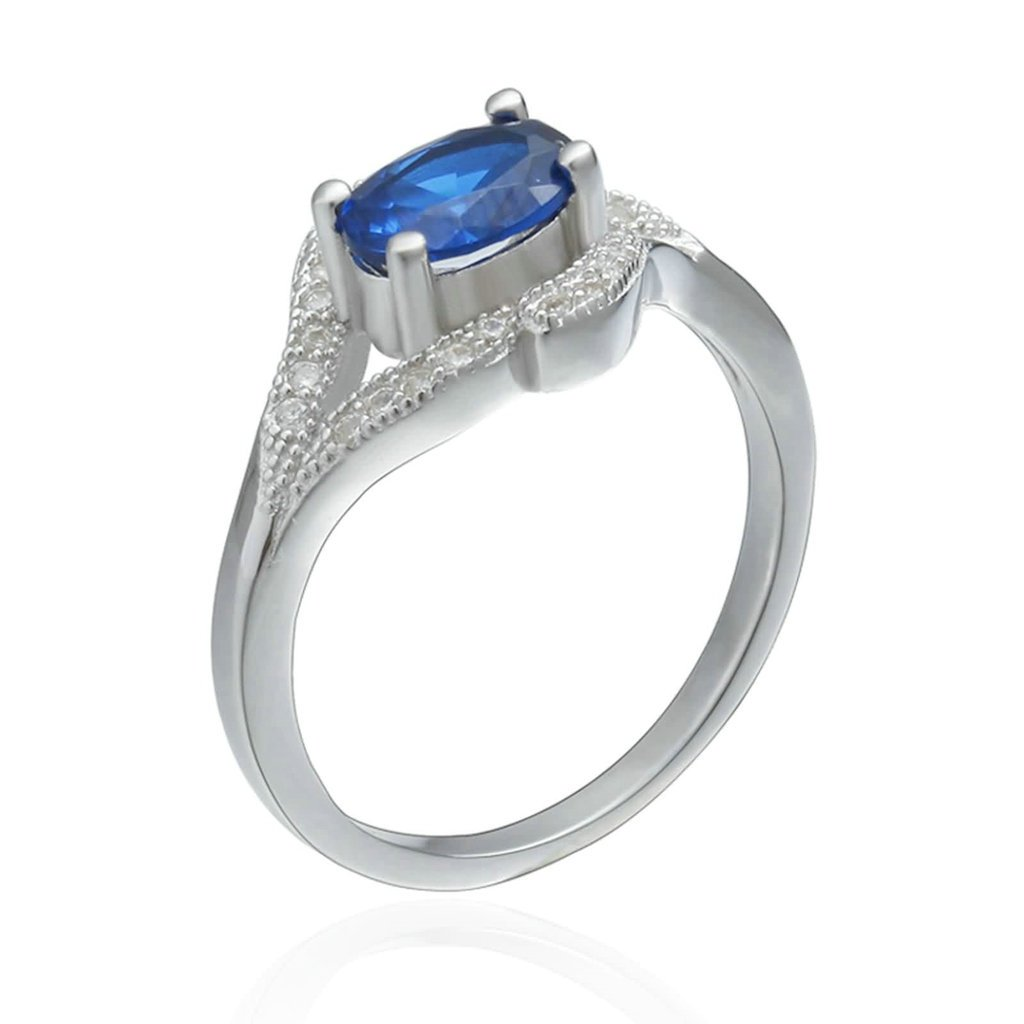 Daesar Sterling Silver Rings Wedding Bands for Women Four Claws Oval Blue Cubic Zirconia White Size 5