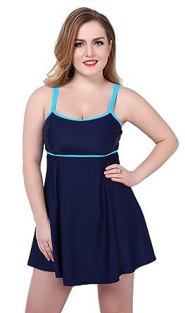 iRachel Plus Size Damen Einteiler Große Größen Badeanzug Bademode Badekleider  Badekleid Tankini mit Röckchen (EU 5b614d2f88