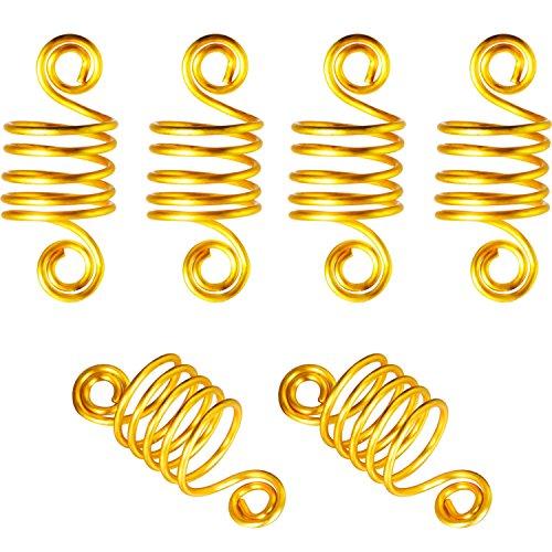 BBTO 50 Pieces Copper Hair Dreadlocks Coil Hair Wraps Braiding Dread Locks Metal Hair Cuffs (Gold)