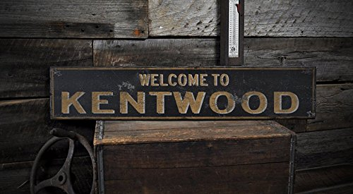 Welcome to KENTWOOD, MICHIGAN - Rustic Hand-Made Vintage US City Wooden Sign - 5.5 x 24 Inches (City Of Kentwood Michigan)