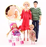 Toys Family 5 People Dolls Suits 1 Mom /1 Dad /2 Little Kelly Girl /1 Baby Son/1 Baby Carriage Real Pregnant Doll