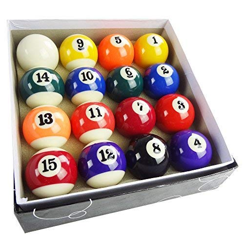 T&R sports 2'' Pool Table Billiard Ball Set, Complete 16 Ball Set, Smaller Balls NOT Regulation Size by T&R sports
