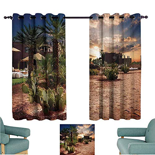 DONEECKL Decorative Curtains for Living Room Desert Majestic Sky View Palm Trees and Cactus in Oasis Morocco Tropic Nature Blackout Draperies for Bedroom Living Room W55 xL72 Blue Green Pale Brown ()