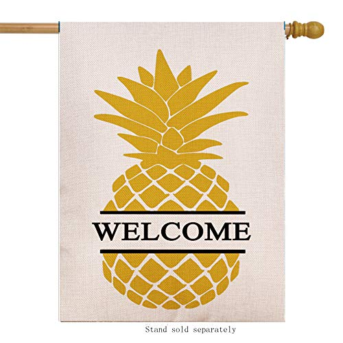 Dyrenson Home Decorative Double Sided Pineapple Large House Flag Burlap Yellow Welcome Quote, House Yard Flag, Garden Yard Decorations, Seasonal Outdoor Flag 28 x 40 Spring Summer