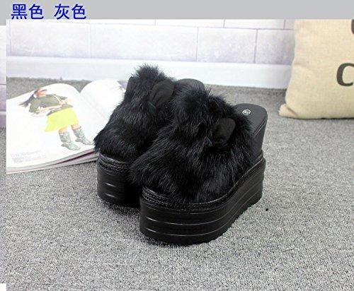 y high XiaoGao Black grueso mujer de zapatillas fondo talud con zapatos Fashionable heel 8gg4qA5