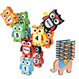 55 PCs Wooden Balance Blocks for Kids, Elephant and Owl Building Balancing Games, Educational Stacking Building Block Toys for Children