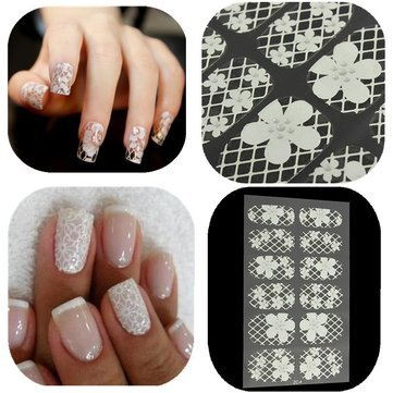 Lace Flower Nail Art Decal 3d Stickers Transparent - 1PCs (Infinite Braid Ring)