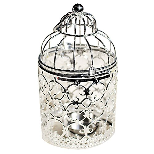 - Qingsun Metal Tealight Candle Holder Lanterns Creative Wedding Home Table Decoration Birdcage White (Silver-A)