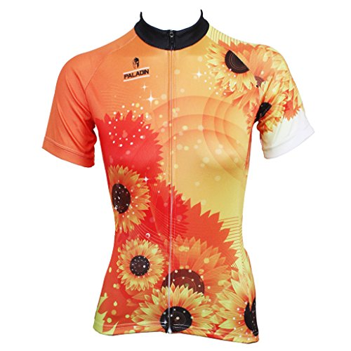 QinYing Women Breathable Cycling Jersey Sunflower Shirt Short Sleeve M Yellow