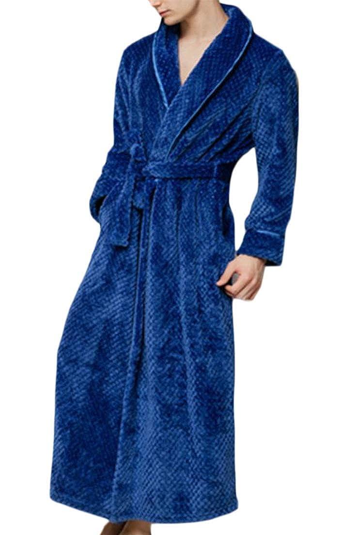 Macondoo Mens Long Sleeve Autumn Winter Warm Lounge Robe Flannel Sleepwear Bathrobe