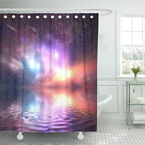 Emvency Shower Curtain Polyester Print 66X72 Inches Sea Ocean Under Galaxy Space Sky Stars Lights Fantasy Water Reflection Falling Waterproof Adjustable Hook Bathroom