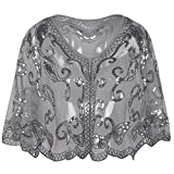 PrettyGuide Women's Evening Cape 1920s Vintage Cocktail Flapper Beaded Shawl Grey Silver