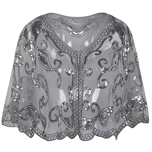 PrettyGuide Women's Evening Cape 1920s Vintage Cocktail Flapper Beaded Shawl Grey Silver by PrettyGuide
