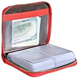 Easyoulife Womens Credit Card Holder Wallet Zip Leather Card Case RFID Blocking (Red)