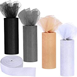 "Supla 4 Colors Tulle Rolls Tulle Fabric Spool Tulle Netting Rolls Soft Black White Grey Beige - 6 inch by 25 yards/spool and White Knit Elastic Spool 0.7"" Wide x 2 Yards for wedding"