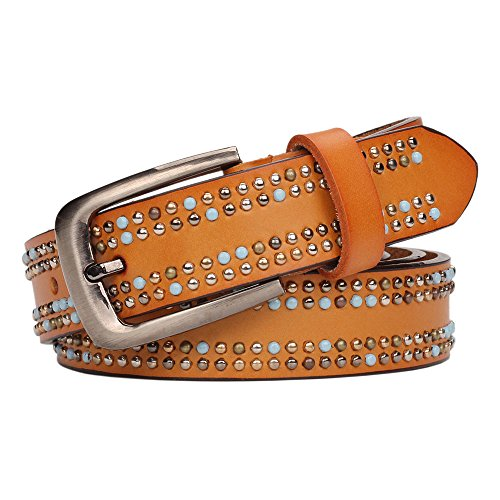 Classic Studded Leather Belt (YUI Rivets Studded Top-grain Leather Belt With Pin Buckle for Women)