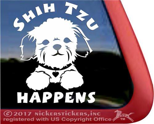 Shih Tzu Happens Puppy Face Decal Vinyl Dog Window Car Truck